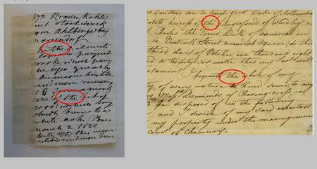 "James Smithson's handwriting [item #] 1678. March 2, 1820 on left, compared to the Draft Will of James Smithson on right.  Notes in J. R. McD. Irby's arrangement of James Smithson's ""Notes on Minerals and Rocks,"" 1878, p. 24. Composite image courtesy of Nora Lockshin. Record Unit 7000 - James Smithson Collection, Smithsonian Institution Archives."