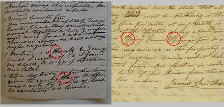 "James Smithson's handwriting circa 1822 on left, compared to the Draft Will of James Smithson on right.  Notes in J. R. McD. Irby's arrangement of James Smithson's ""Notes on Minerals and Rocks,"" 1878, p. 8. Composite image courtesy of Nora Lockshin. Record Unit 7000 - James Smithson Collection, Smithsonian Institution Archives."