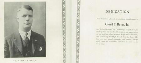 Creed F. Bates, Jr, 1925, Chattanooga High School Yearbook.