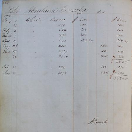 Abraham Lincoln's pay and mileage account for the First Session of the 30th Congress, National Archives.