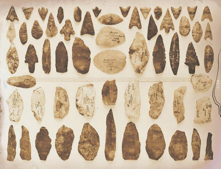 Stone and flint tools from Ireland, from donor Robert Day, Jr.
