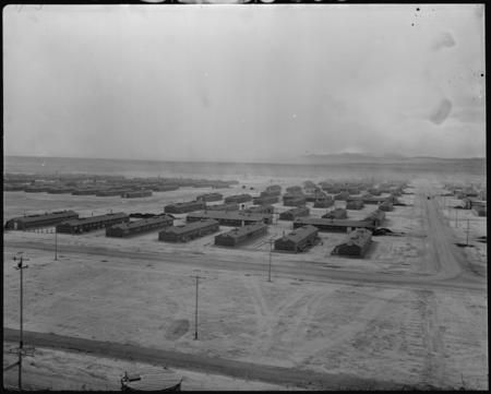 Topaz, Utah. A panorama view of the Central Utah Relocation Center, taken from the water tower, by Stewart, Francis, War Relocation Authority photographer, 1943, Department of the Interior, War Relocation Authority, National Archives and Records Administration, College Park, Still Picture Records Section, Special Media Archives Services Division (NWCS-S), NARA record: 8464475.