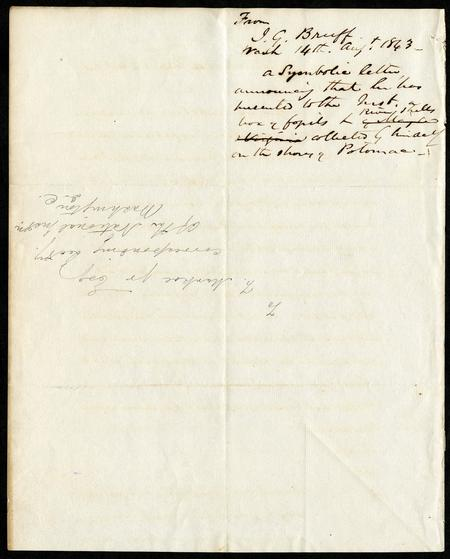 Reverse side of Rebus letter from J. Goldsborough Bruff to Francis Markoe, Jr. of the National Institute, 1863.  Presumably, the note in the top right corner was added by the National Institute, which may have saved the letter due to the care put forth by the author to make a lasting impression.