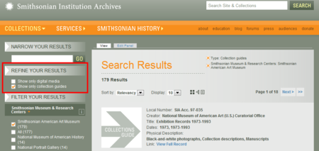 A screenshot of the Archives' Collections Search options.
