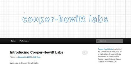 A screenshot of the new Cooper-Hewitt blog, Cooper-Hewitt Labs.