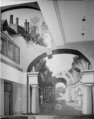 At the end of the three-story high concourse in the Smithsonian Institution's underground complex is an illusionist mural by Richard Haas, 1987, by Robert Lautman, black-and-white photographic print, Record Unit 410 - Office of Public Affairs, Publicity Records, circa 1965-1974, 1987, Smithsonian Institution Archives, Neg. no. 87-6702.