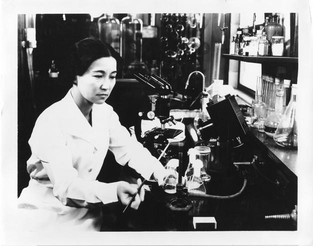Biochemist and bacteriologist Ruby Hirose researched serums and antitoxins at the William S. Merrell Laboratories.  In 1940, Hirose was among ten women recognized by the American Chemical Society for accomplishments in chemistry, and later made major contributions to the development of vaccines against infantile paralysis. Accession 90-105 - Science Service, Records, 1920s-1970s, Smithsonian Institution Archives, Neg. no. SIA2008-3224.