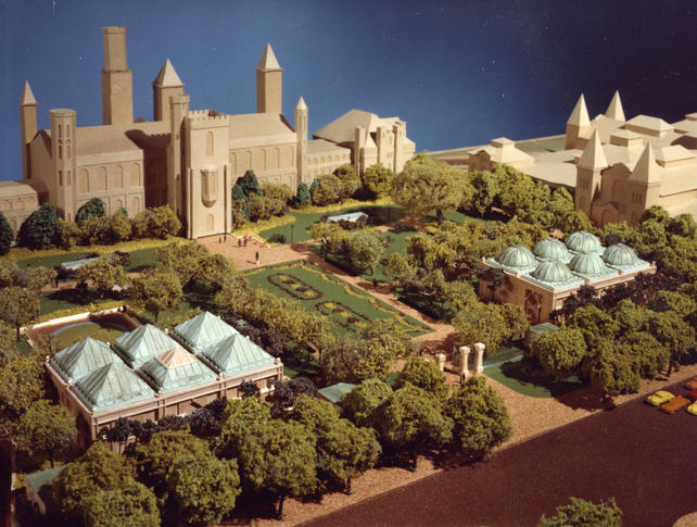"A photograph of the model of the Quadrangle, a complex of buildings that contain the Sackler Gallery, National Museum of African Art, S. Dillon Ripley Center, and the South Yard behind the Smithsonian Institution Building, or ""Castle,"" and the Arts and Industries Building, c. 1979, color photographic print, Accession 09-161 - Office of Facilities Services, Project Files, 1965-1984, Smithsonian Institution Archives, Neg. no. SIA2011-1345."