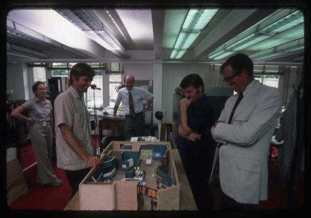 Beth Miles, Terry Erwin, Harry Hart, and Porter Kier, July 1975, by Kjell Sandved, color transparencies, Smithsonian Institution Archives, Accession Number 95-013, Negative Number SIA2013-04247.