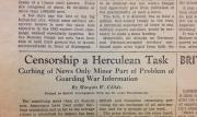 """Censorship a Herculean Task: Curbing of News Only Minor Part of Problem of Guarding War Information"