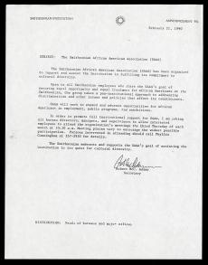 Memorandum announcing formation of the Smithsonian African American Association from Secretary Robert McCormick Adams, February 21, 1990, Smithsonian Institution Archives.