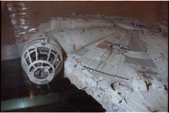 "Millennium Falcon model used in the exhibition, ""Star Wars: The Magic of Myth."" Accession 11-072: National Air and Space Museum, Exhibits Design Division, Exhibition Records, 1991-1999. Image no. SIA2016-005992. Smithsonian Institution Archives."