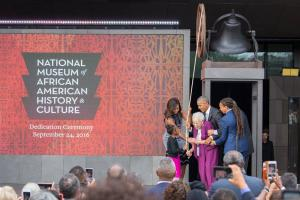 President Obama and the First Lady opening the National Museum of African American History and Cultu