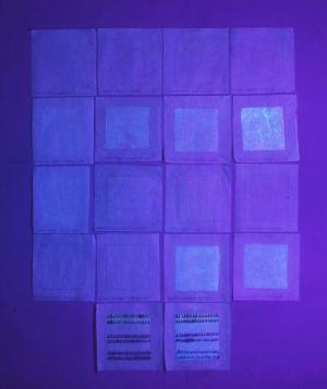Examination of adhesives and sizing agents under UV light, 12/28/2015. Courtesy of  Laura Dellapiana