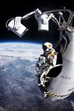 Pilot Felix Baumgartner of Austria prepares to jump from the altitude of 29455 meters during the second manned test flight for Red Bull Stratos in Roswell, New Mexico on July 25, 2012. Photo courtesy of Red Bull Stratos.