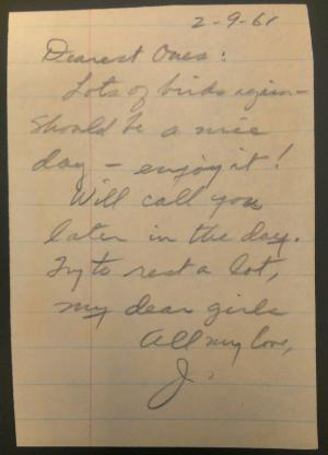 Note from James Eike to his wife, Claire, and daughter, Susan, dated Februrary 9, 1961. Record Unit 7342 - James W. Eike Papers, 1927, 1950-1983, Box 1, Folder 5, Smithsonian Institution Archives.