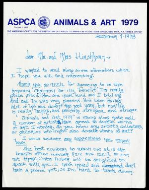 Letter to Joseph and Olga Hirshhorn from Lisa de Kooning, December 7, 1978. Record Unit 7449 - Joseph H. Hirshhorn Papers, circa 1926-1982 and undated. Smithsonian Institution Archives.