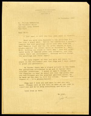Letter to Willem de Kooning from Joseph Hirshhorn, November 15, 1967. Record Unit 7449 - Joseph H. Hirshhorn Papers, circa 1926-1982 and undated. Smithsonian Institution Archives.