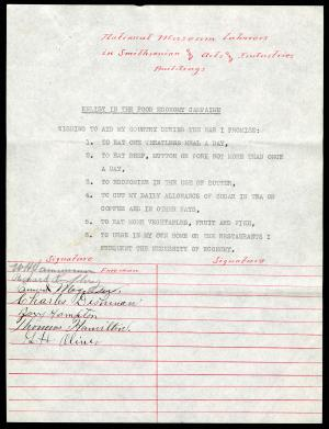 Food Commission Pledges, National Museum Laborers in Smithsonian and Arts and Industries Buildings, July 1917, Record Unit 45 - Office of the Secretary, Records, 1890-1929, Smithsonian Institution Archives, neg. no. SIA2014-05913.