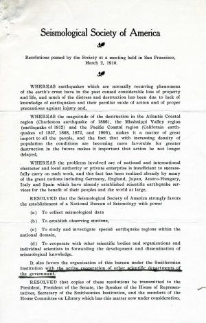Resolution of the Seismological Society of America, 1910, Record Unit 45 - Office of the Secretary, Records, 1890-1929, Smithsonian Institution Archives.