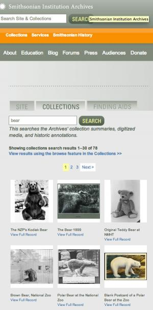 Screen shot of our collections search operating at its lowest resolution. Bear images were often use