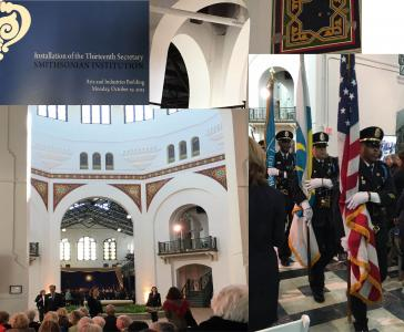 A collage of images from Secretary Skorton's installation.