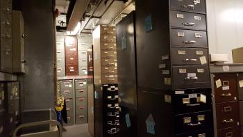 File cabinets filled with film in old cold storage space at NMAH. Courtesy of Smithsonian Institution Archives.