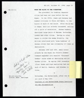 "Sample page of exhibition draft script for ""The Last Act: The Atomic Bomb and the End of World War II, annotated by the Veterans of Foreign Wars with ""H&N"" standing for Hiroshima and Nagasaki. Accession 14-100 - National Air and Space Museum, Enola Gay Exhibition Records, 1968, 1970, 1981-2006, Smithsonian Institution Archives."