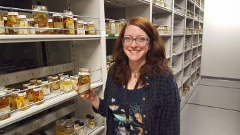 Katie Ahlfeld with Horton Hobbs Jr.'s specimens
