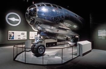 Enola Gay on display, circa 1995, Accession 11-009, Smithsonian Institution Archives, Neg. no. 95-4624.