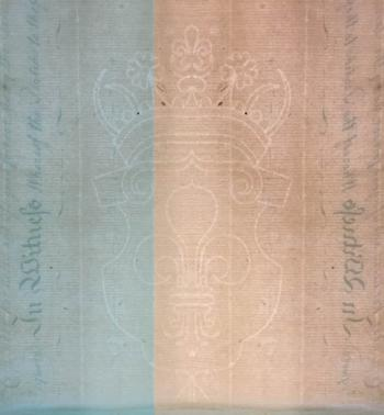 This fleur-de-lis watermark is located right on the fold of the sealed portion of the indenture; we