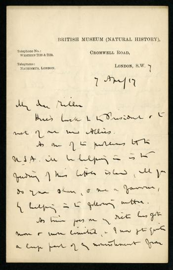 Correspondence from Thomas to Miller, April 7, 1917. Smithsonian Institution Archives, RU00158.