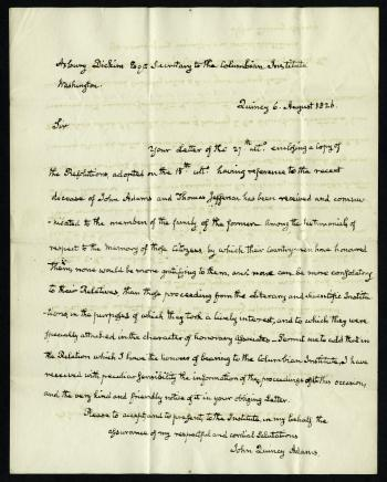 Letter from John Quincy Adams