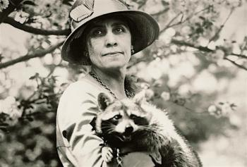 Grace Coolidge and Rebecca, her pet raccoon.