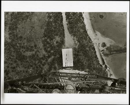 View from LORAN tower on Sand-Johnston Island, including antenna supports, 1964, Smithsonian Institu