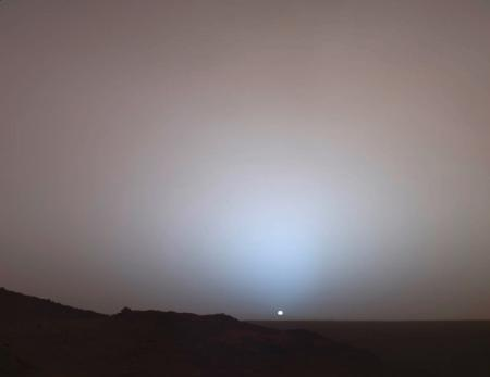 The Mars Rover Spirit took this sublime view of a sunset over the rim of Gusev Crater, about 80 kilo