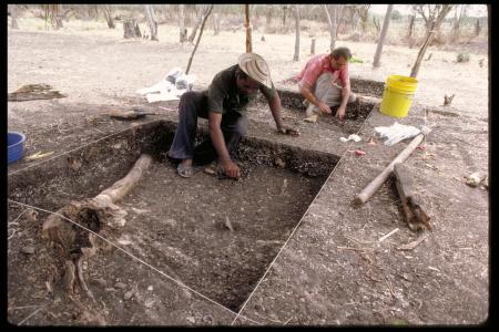 Archeological Dig in Dried Up River Bed