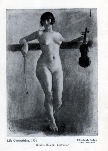 Prize-winning Life Drawing from the Corcoran Art Catalog, 1924, by Elizabeth Sabin Goodwin.