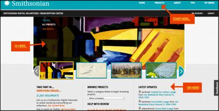 Getting started on the Homepage, Smithsonian Transcription Center