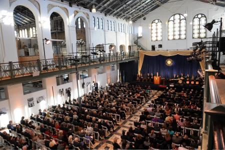 Staff and invited guests filled the historic Arts and Industries Building for the installation of Dr