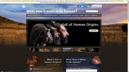 A screenshot of the website for the Human Origins Initiative, crawled November 22, 2013, Accession 14-079 - National Museum of Natural History, Website Records, 2013, Smithsonian Institution Archives.