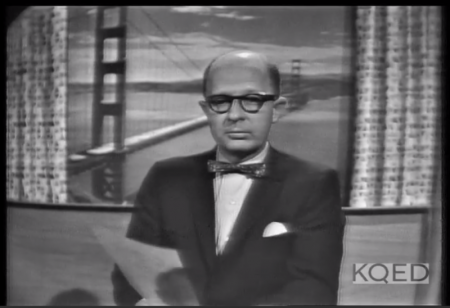 KQED Station Manager James Day introducing the controversial subject of homosexuality. (Still from '