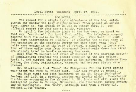 Local Notes, April 17th, 1919, pg. 19. Smithsonian Instittuion Archives.
