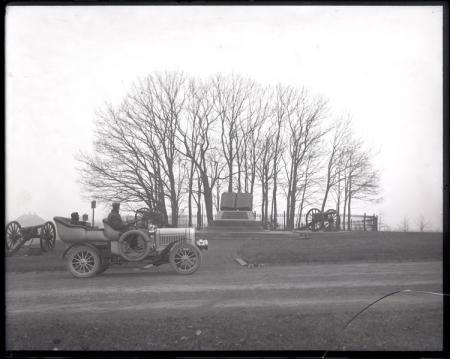 "Unidentified Men in Automobile at ""Commands Honored"" Monument at the Gettysburg Battle Site"