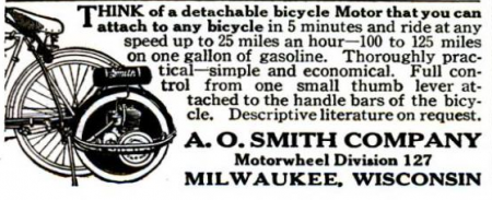 Bicycle motor ad, 1916.