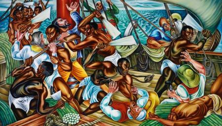"""The Mutiny on the Amistad,"" 1939, by Hale Woodruff. Collection of Savery Library, Talladega College, Talladega, Alabama / National Museum of African American History and Culture."
