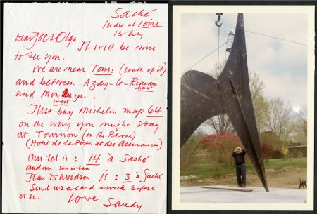 Letter from (Sandy) Alexander Calder to Joseph and Olga Hirshhorn, July 13, 1966. Record Unit 7449 - Joseph H. Hirshhorn Papers, circa 1926-1982 and undated. Smithsonian Institution Archives.