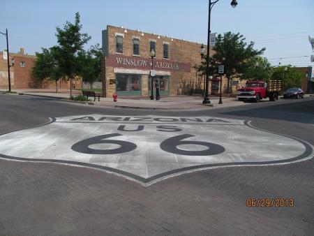 "Route 66 runs through Winslow, Arizona. This corner is a tribute to the Eagles song, ""Take It Easy."" The camera used included a date stamp. Photo by Lynda Schmitz Fuhrig."