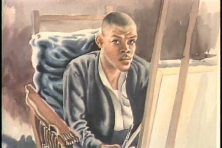 """""""In the Studio,"""" 1945, by John N. Robinson, pencil and watercolor on cream paper, Corcoran Gallery of Art, Still image from """"A Museum for the Community"""" program, """"Here at the Smithsonian,"""" Accession 00-132 - Office of Telecommunications, Productions, 1982-1989, Smithsonian Institution Archives."""
