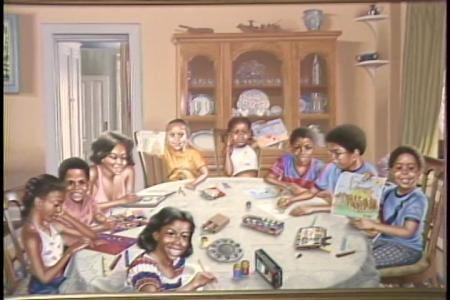"""""""Here, Look at Mine,"""" 1980, by John Robinson, oil painting, Still image from """"A Museum for the Community"""" program, """"Here at the Smithsonian,"""" Accession 00-132 - Office of Telecommunications, Productions, 1982-1989, Smithsonian Institution Archives."""